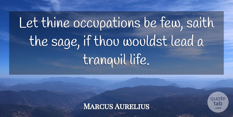 Marcus Aurelius Quote About Life, Sage, Occupation: Let Thine Occupations Be Few...