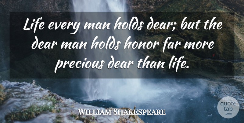 William Shakespeare Quote About Life, Character, Men: Life Every Man Holds Dear...