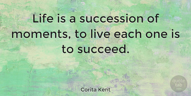 Corita Kent Quote About Life, Motivational, Positive: Life Is A Succession Of...