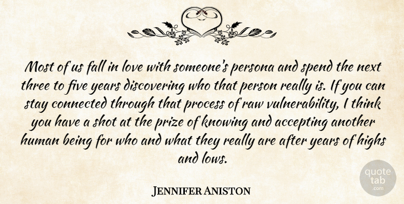 Jennifer Aniston Quote About Falling In Love, Thinking, Years: Most Of Us Fall In...