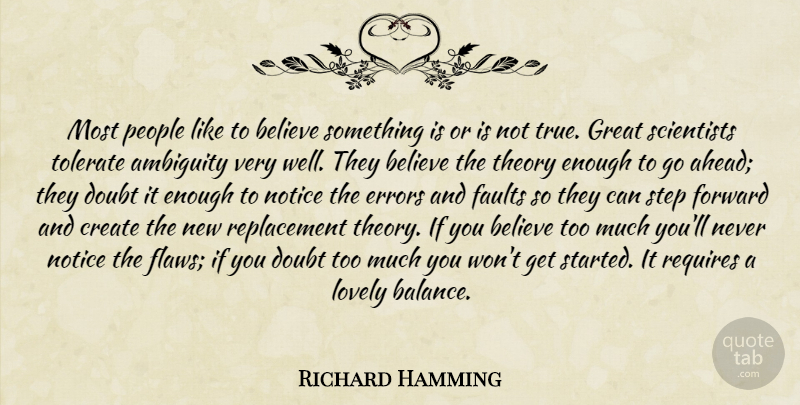 Richard Hamming Quote About Believe, Greatness, Errors: Most People Like To Believe...
