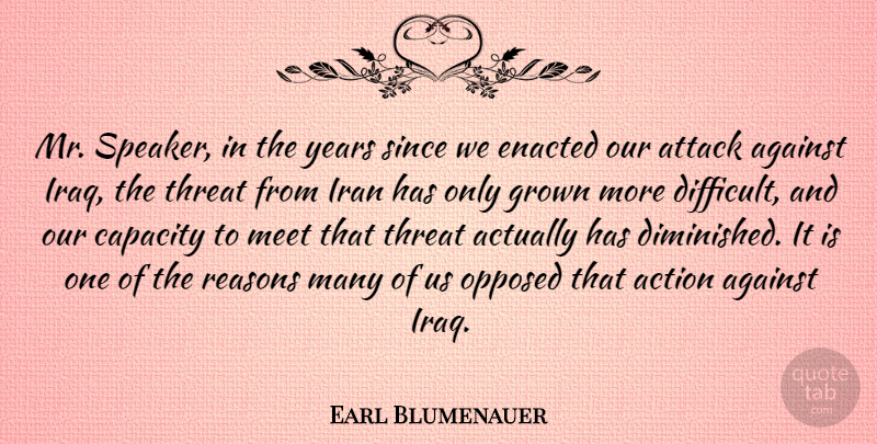 Earl Blumenauer Quote About Action, Against, Attack, Capacity, Grown: Mr Speaker In The Years...