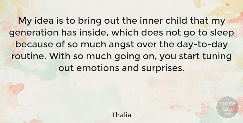 Thalia Quote About Angst, Bring, Emotions, Generation, Inner: My Idea Is To Bring...