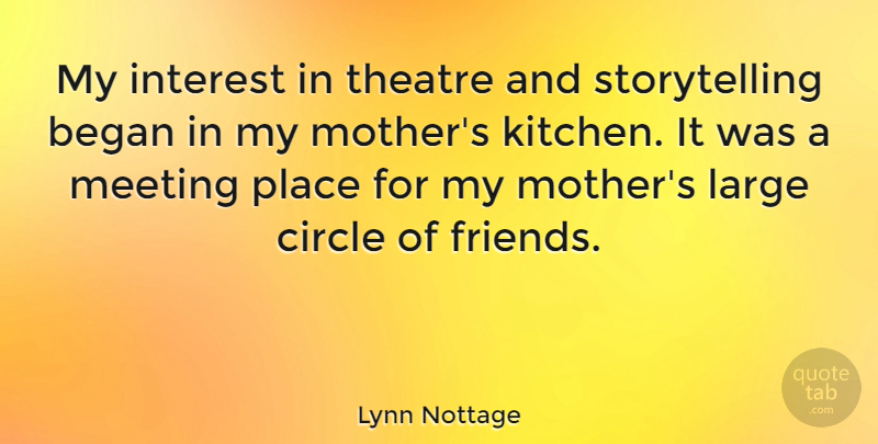 Lynn Nottage Quote About Began, Circle, Interest, Large, Meeting: My Interest In Theatre And...
