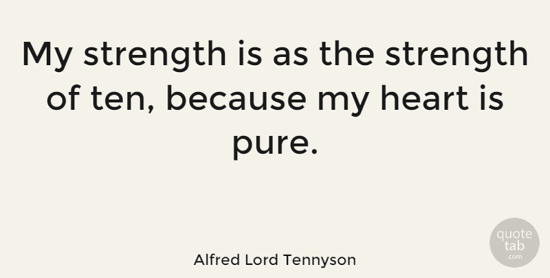 Alfred Lord Tennyson Quote About Inspirational, Strength, Heart: My Strength Is As The...