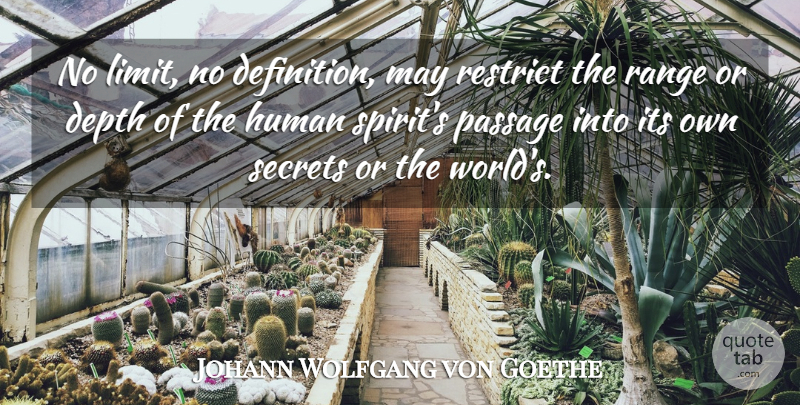 Johann Wolfgang von Goethe Quote About Secret, World, May: No Limit No Definition May...