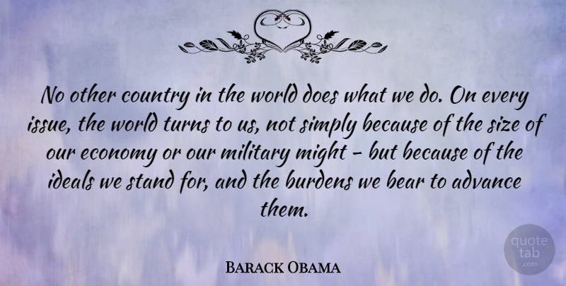 Barack Obama Quote About Advance, Bear, Burdens, Country, Ideals: No Other Country In The...