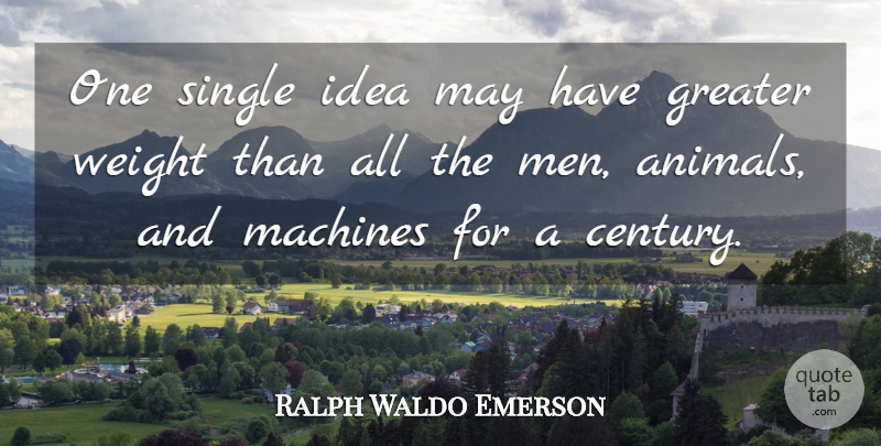 Ralph Waldo Emerson Quote About Men, Animal, Ideas: One Single Idea May Have...