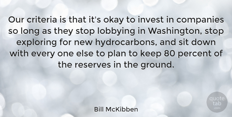 Bill McKibben Quote About Companies, Criteria, Exploring, Invest, Okay: Our Criteria Is That Its...