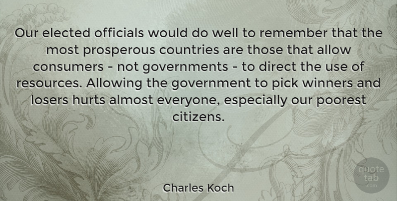 Charles Koch Quote About Allow, Allowing, Almost, Consumers, Countries: Our Elected Officials Would Do...