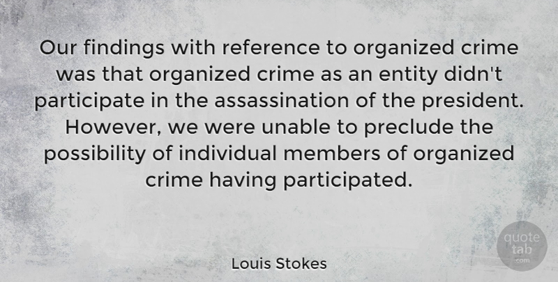 Louis Stokes Quote About Crime, Entity, Individual, Members, Organized: Our Findings With Reference To...