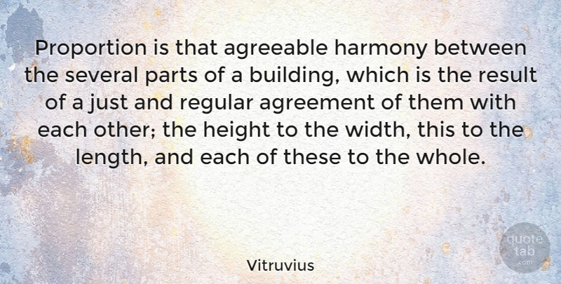 Vitruvius Quote About Agreeable, Agreement, Parts, Proportion, Regular: Proportion Is That Agreeable Harmony...