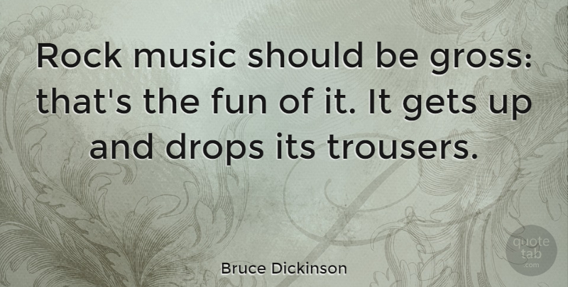 Bruce Dickinson Quote About Fun, Rocks, Rock N Roll: Rock Music Should Be Gross...