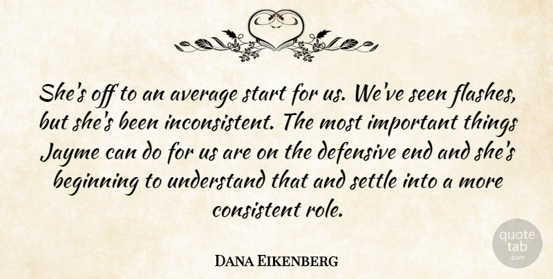 Dana Eikenberg Quote About Average, Beginning, Consistent, Defensive, Seen: Shes Off To An Average...
