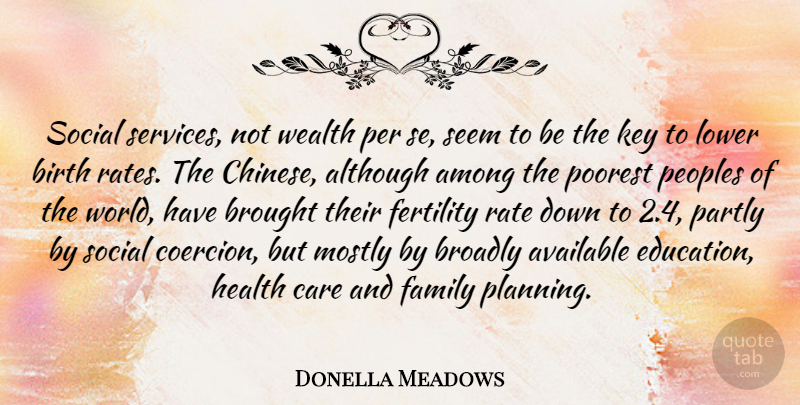 Donella Meadows Quote About Although, Among, Available, Birth, Brought: Social Services Not Wealth Per...