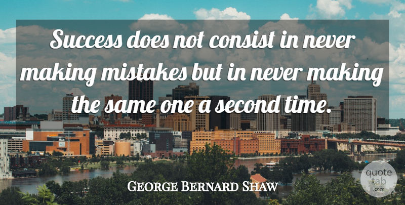 George Bernard Shaw Quote About Inspirational, Success, Time: Success Does Not Consist In...