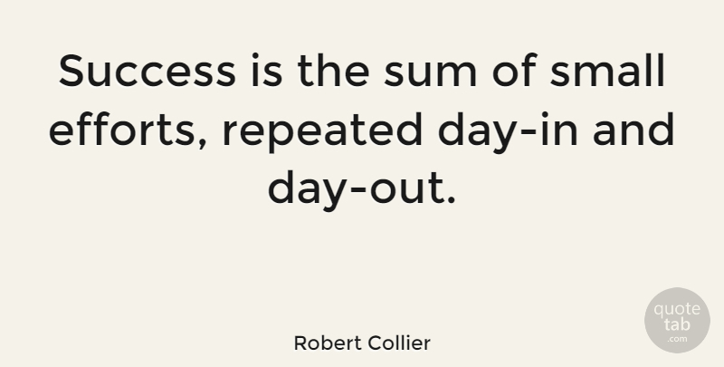 Robert Collier Quote About Inspirational, Motivational, Success: Success Is The Sum Of...