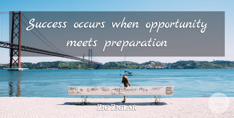 Zig Ziglar Quote About Motivational, Opportunity, Preparation: Success Occurs When Opportunity Meets...