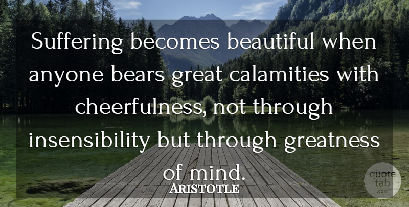 Aristotle Quote About Beauty, Beautiful, Gratitude: Suffering Becomes Beautiful When Anyone...