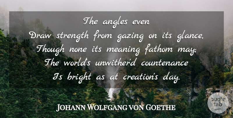 Johann Wolfgang von Goethe Quote About World, May, Sun: The Angles Even Draw Strength...