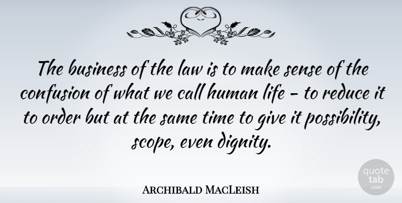 Archibald MacLeish Quote About Order, Law, Confusion: The Business Of The Law...
