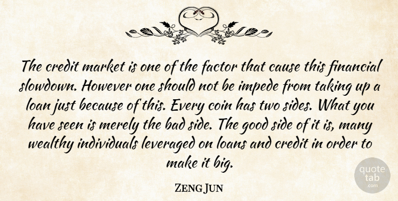 Zeng Jun Quote About Bad, Cause, Coin, Credit, Factor: The Credit Market Is One...