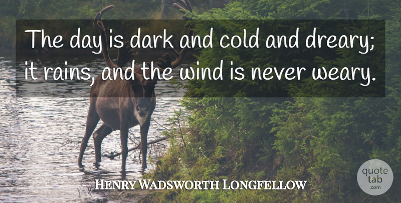 Henry Wadsworth Longfellow Quote About Rain, Dark, Wind: The Day Is Dark And...