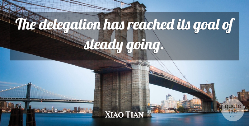Xiao Tian Quote About Delegation, Goal, Reached, Steady: The Delegation Has Reached Its...