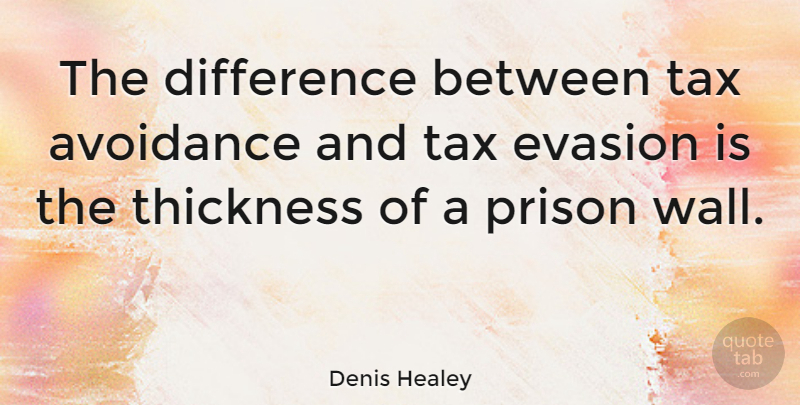 Denis Healey Quote About Business, Wall, Differences: The Difference Between Tax Avoidance...