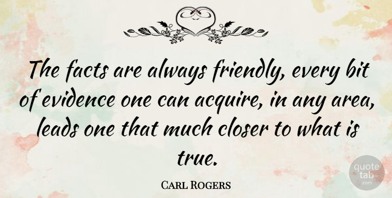 Carl Rogers Quote About Friendly, Facts, Evidence: The Facts Are Always Friendly...
