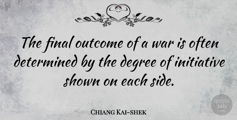 Chiang Kai-shek Quote About Degree, Final, Outcome, Shown, War: The Final Outcome Of A...