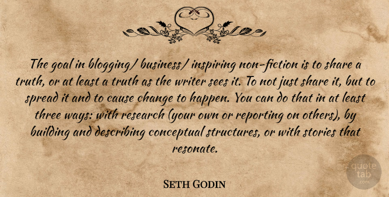 Seth Godin Quote About Goal, Three, Fiction: The Goal In Blogging Business...