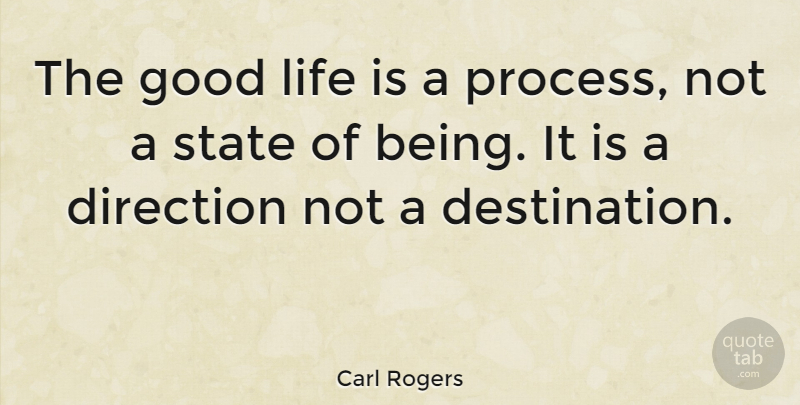 Carl Rogers Quote About Inspirational, Life, Journey: The Good Life Is A...