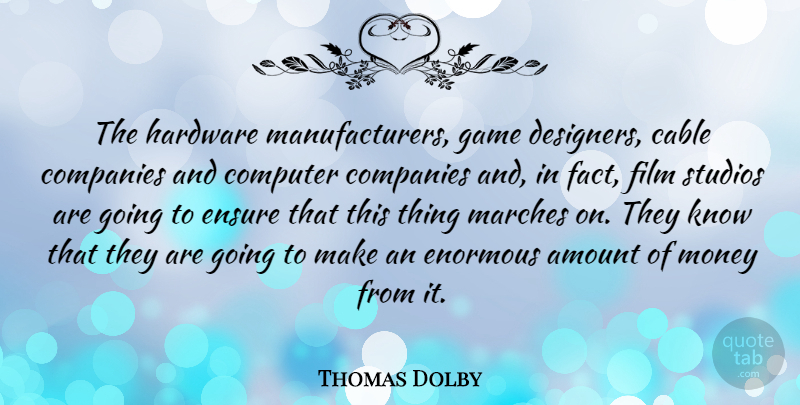 Thomas Dolby Quote About Amount, Cable, Companies, Computer, English Musician: The Hardware Manufacturers Game Designers...