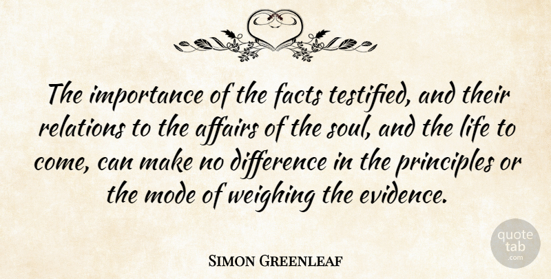 Simon Greenleaf Quote About Affairs, American Judge, Difference, Importance, Life: The Importance Of The Facts...