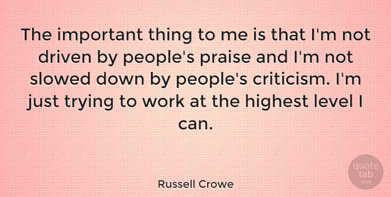 Russell Crowe Quote About Art, Motivation, People: The Important Thing To Me...