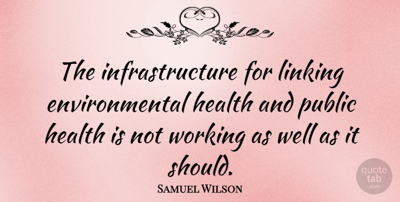 Samuel Wilson Quote About Environmental Health, Should, Infrastructure: The Infrastructure For Linking Environmental...