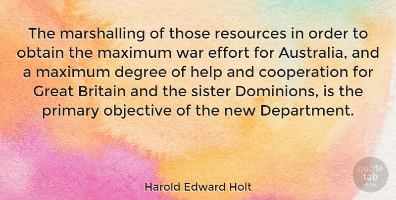 Harold Edward Holt Quote About Britain, Cooperation, Degree, Effort, Great: The Marshalling Of Those Resources...