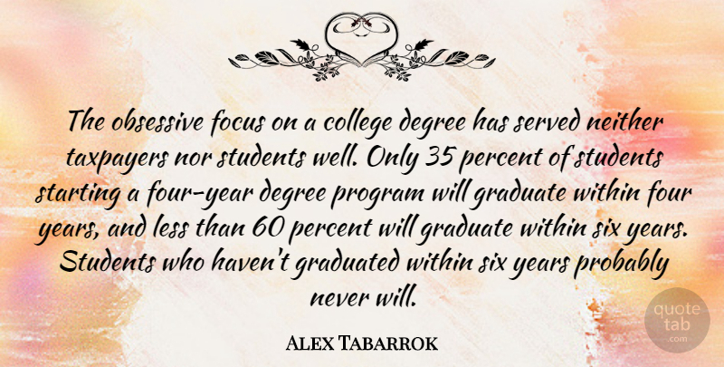 Alex Tabarrok Quote About Degree, Four, Graduate, Graduated, Less: The Obsessive Focus On A...