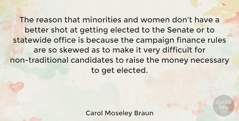 Carol Moseley Braun Quote About Campaign, Candidates, Difficult, Elected, Finance: The Reason That Minorities And...