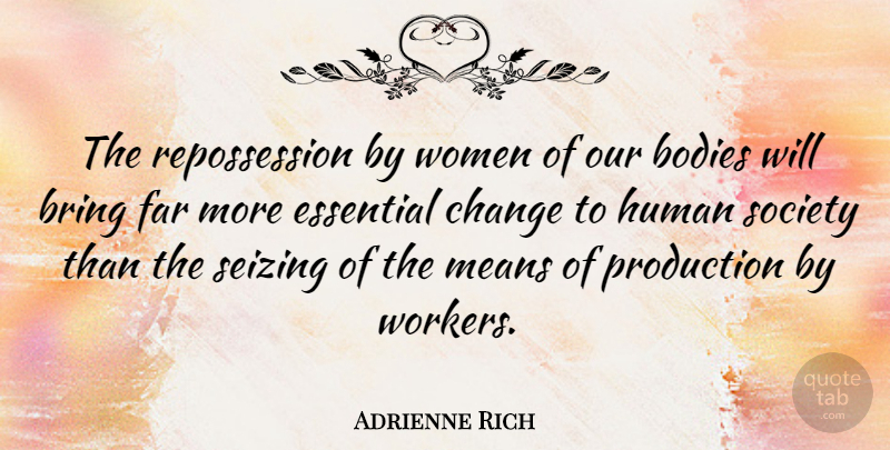 Adrienne Rich Quote About Mean, Aquariums, Body: The Repossession By Women Of...