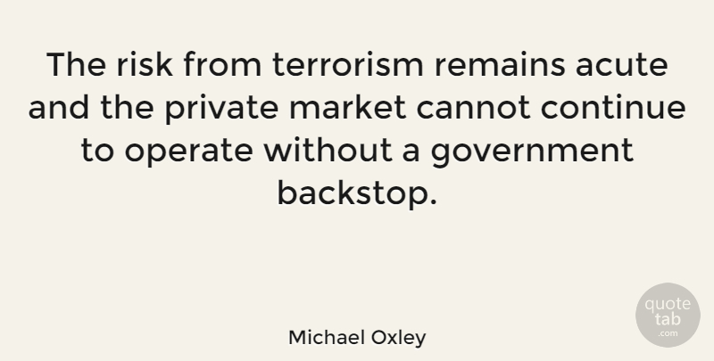 Michael Oxley Quote About Government, Risk, Terrorism: The Risk From Terrorism Remains...