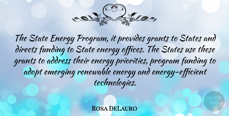Rosa DeLauro Quote About Technology, Office, Priorities: The State Energy Program It...