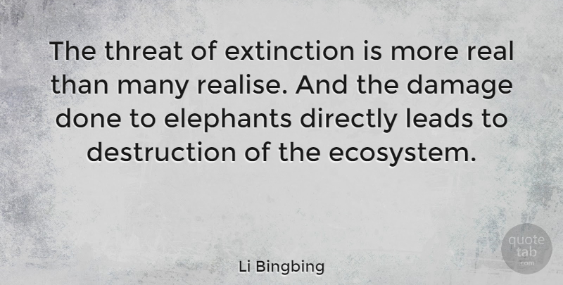 Li Bingbing Quote About Damage, Directly, Leads, Threat: The Threat Of Extinction Is...