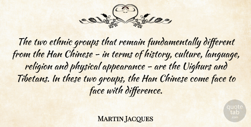Martin Jacques Quote About Appearance, Chinese, Ethnic, Face, Groups: The Two Ethnic Groups That...