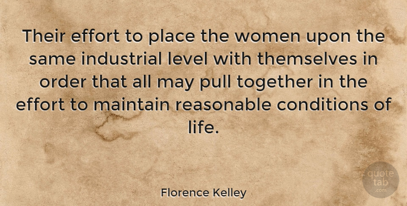Florence Kelley Quote About American Activist, Conditions, Effort, Industrial, Level: Their Effort To Place The...