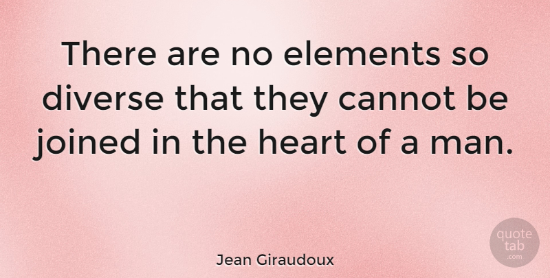 Jean Giraudoux Quote About Love, Heart, Men: There Are No Elements So...