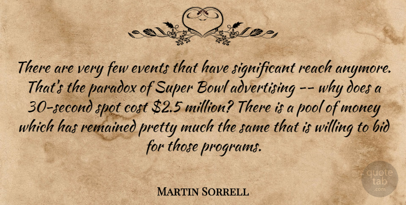 Martin Sorrell Quote About Advertising, Bid, Bowl, Cost, Events: There Are Very Few Events...