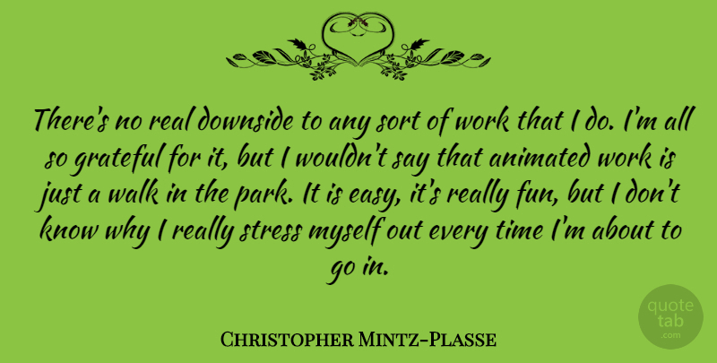 Christopher Mintz-Plasse Quote About Animated, Downside, Grateful, Sort, Time: Theres No Real Downside To...