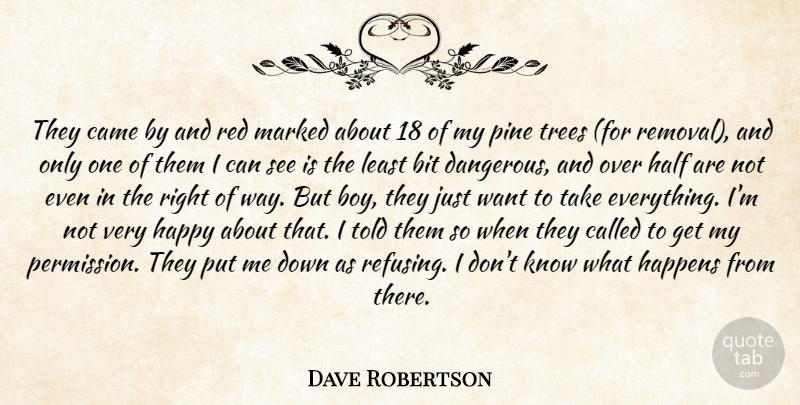 Dave Robertson Quote About Bit, Came, Half, Happens, Happy: They Came By And Red...